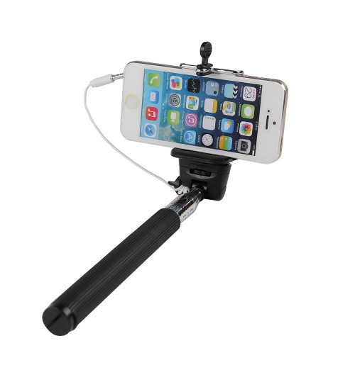 SNS - Wired Selfie Sticks Handheld Monopod Shutter Extendable Mount Holder Phones Camera Black