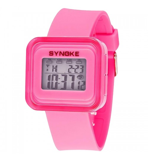 SYNOKE - Children'S Sports Electronic Watches Fashion Watches Luminous Waterproof Pink