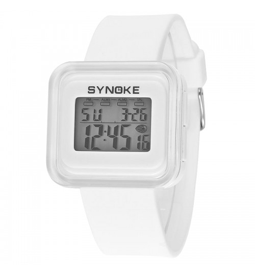 SYNOKE - Children'S Sports Electronic Watches Fashion Watches Luminous Waterproof White