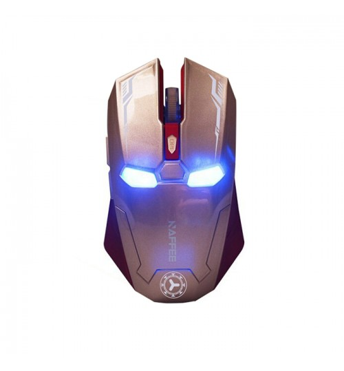 LRON MAN - Mouse Wireless Mouse Gaming Gamer Mute Button Click 800/1200/1600/2400dpi Adjustable Gold